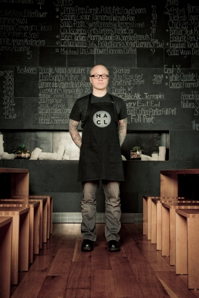Portrait of Chef Kevin Sousa at his restaurant Salt of the Earth, Pittsburgh Pa., © Laura Petrilla, http://misslphotography.com/index2.php