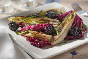 Grilled Endive and Radicchio Salad, Copyright 2014, Jon Lisbon